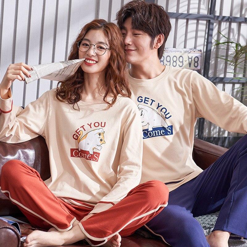 Spring Pajama Sets Women Cotton Sleepwear Man & Women Matching Loungewear Lovely Printing Couple Pajamas Autumn Home Suit