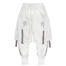 Techwear Double Layer Tactical Ribbons Cargo Pants Men Harajuku Embroidery Joggers Trousers Hip Hop Function Casual Streetwear