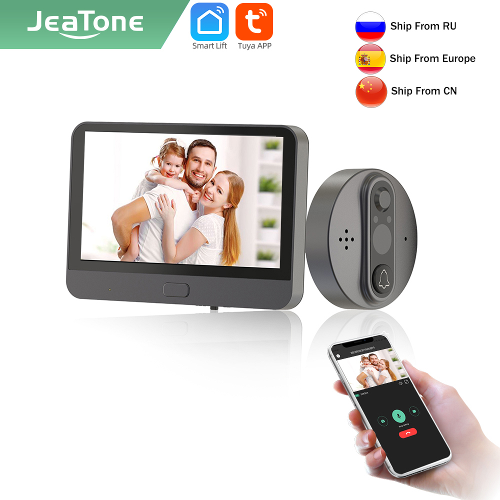 Jeatone Tuya smart WiFi дверной звонок с 720P/110 ° Камера видео глазок для двери 4,3