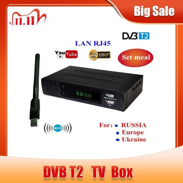 2020 hd 1080p DVB T2 receptor de sinal digital conjunto caixa superior dvb t2 receptor terrestre h.264 dvb sintonizador de tv com suporte rj45 wi fi