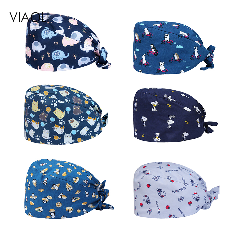 Viaoli Hospital Dental Clinic Pediatrician Pure Cotton Medical Cap Surgical Cap Blue Little Animal Printing Medical Accessories