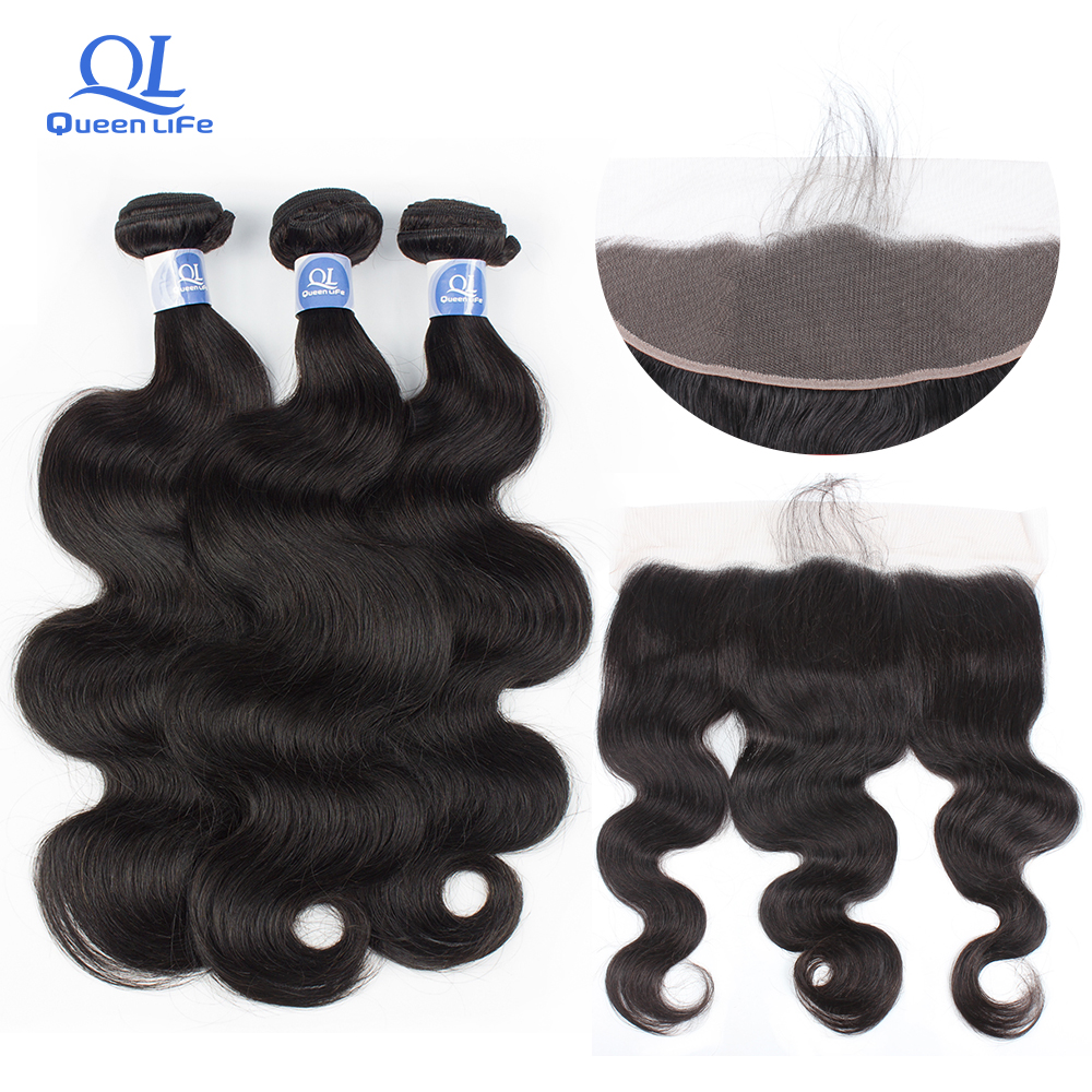 Queenlife 3 Bundles with Frontal Body Wave Bundles Remy Human hair Brazilian Hair Weaving 28 inch