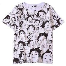 Anime iblis avcısı Kimetsu hiçbir Yaiba Tanjiro Kamado Cosplay kostümleri t shirt erkek t shirt komik cadılar bayramı partisi kadınlar için CS076