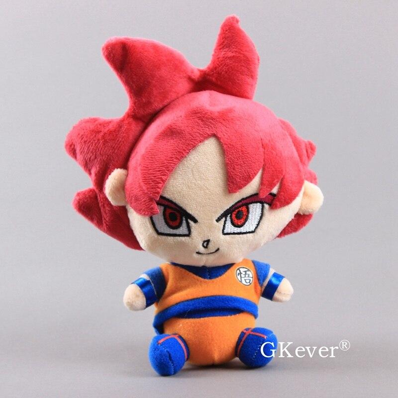 20cm Anime Dragon Ball Z Red Super Saiyan God Goku Plush Toy Doll Figure Collection Dolls Children Kids Christmas Birthday Gift