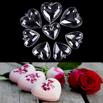 1 set Heart Shape DIY Clear Plastic Bath Bomb Mould Acrylic Mold 65/80mm 1