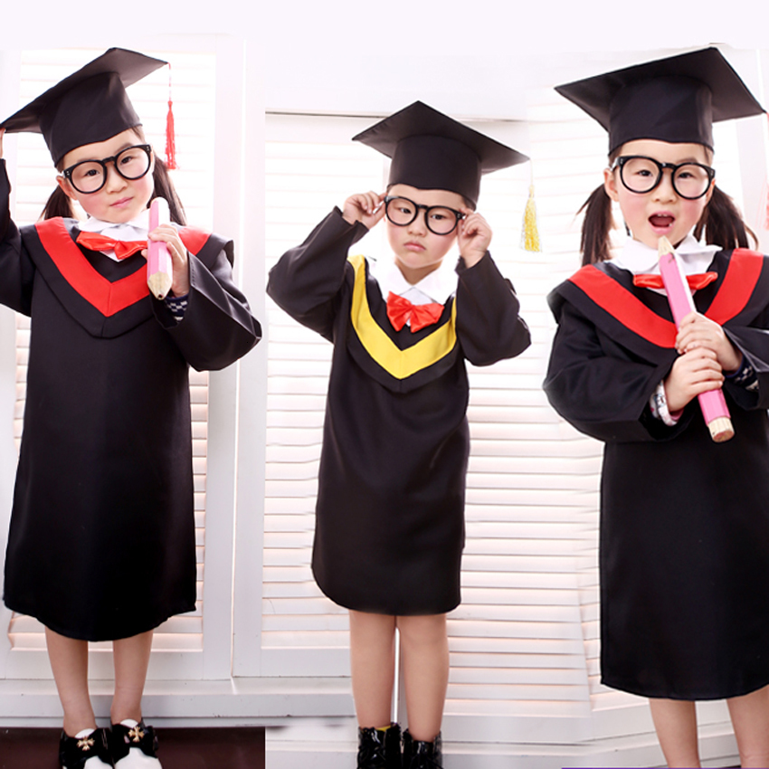 Children Bachelor Gown Girls Performance Dress School Boy Class Team Wear Kids Party Robe With Bow Tie Baby Graduation Costume
