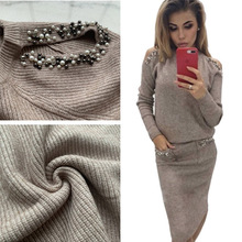 Women Off Shoulder Pearl Knitted Sweater Suit Skirt Set New Spring Korean O Neck Pullover Long Skirts 2 Pieces ZOGAA