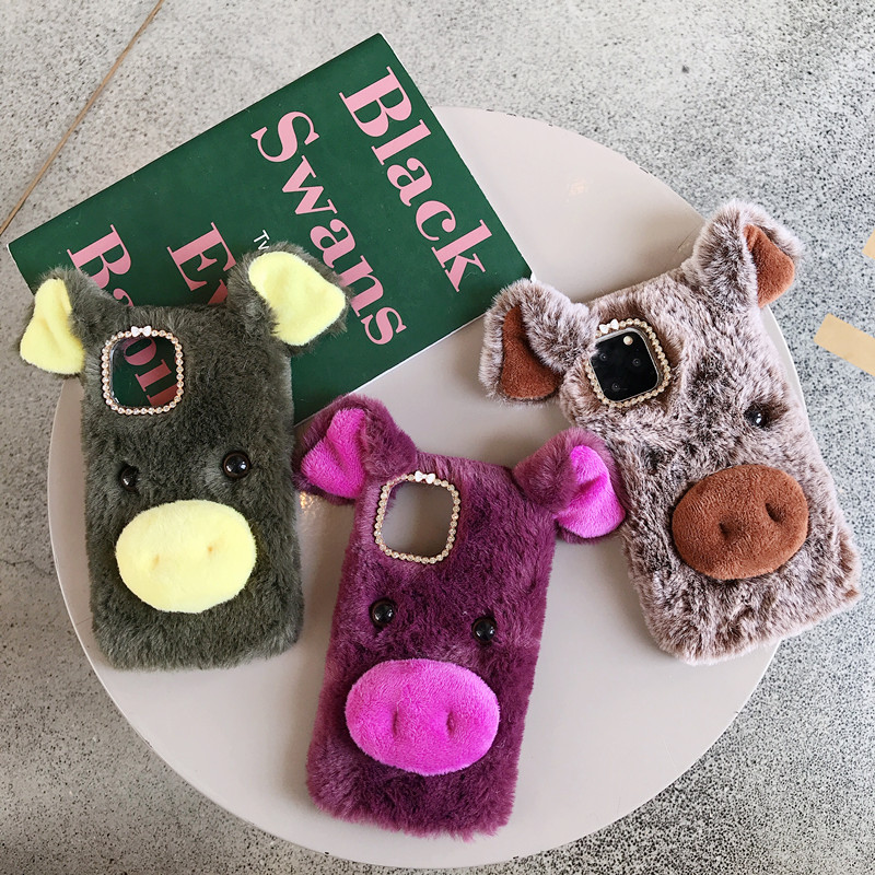 Flauschigen schwein multi farben winter handy fall abdeckung für iphone 11 pro max 6 6s 7 8 plus x xr xs max