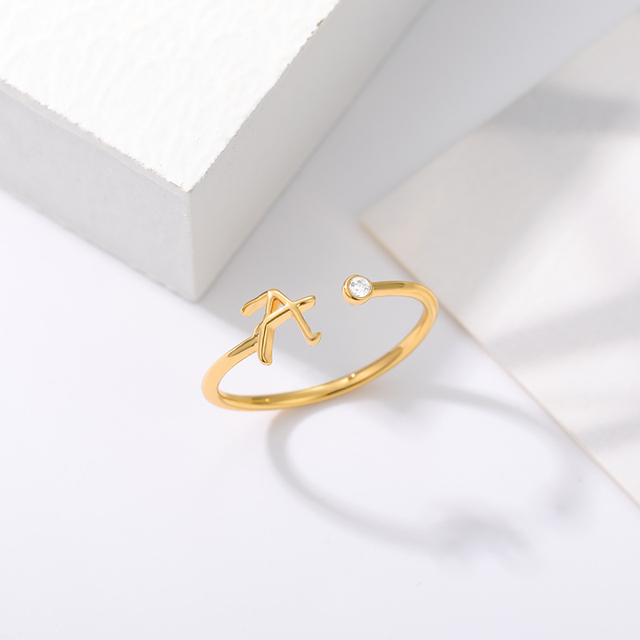Cute Initial Letter Rings For Women Unisex Stainless Steel Gold A-Z 26 Letters Ring Creative Finger Rings Jewelry Wholesale 4