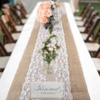 Elegante camino de mesa de arpillera de yute encaje mantel boda fiesta decoración hogar mantel manteles modernos para mesa de comedor