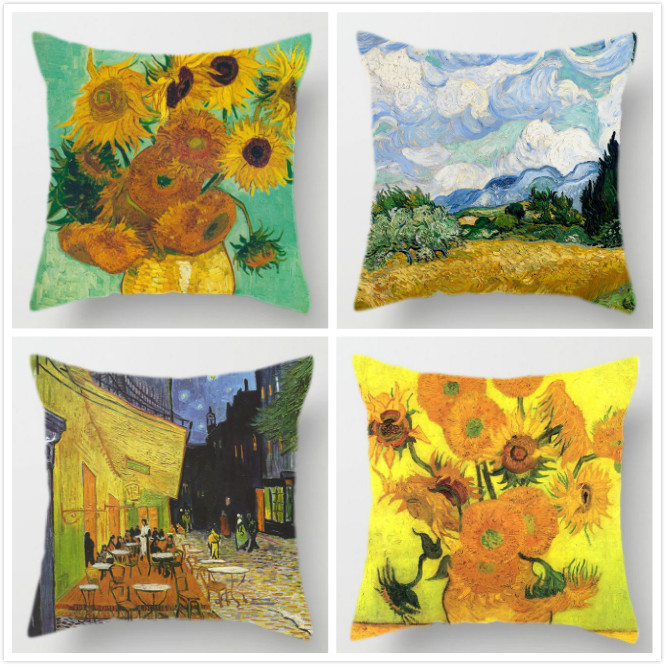 4pcs Van Gogh Oil Painting Cushion Cover Sunflower Self-portrait Starry Sky Print Pillowcase Sofa Home Decorative Pillow Covers