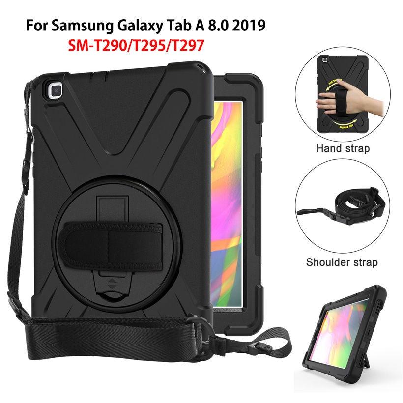 Case For Samsung Galaxy Tab A 8.0 2019 SM-T290 SM-T295 T290 T295 T297 Cover Funda Shockproof Heavy Duty With Wrist Straps