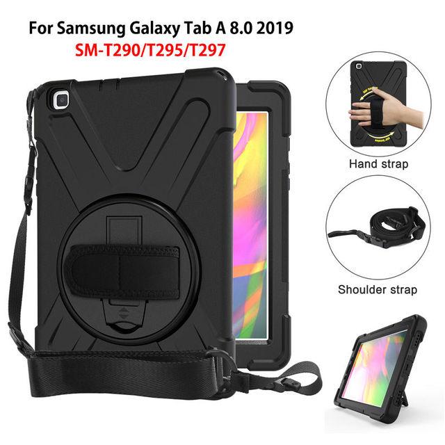 מקרה עבור samsung galaxy tab 8.0 2019 SM T290 SM T295 T290 T295 T297 כיסוי אופן בסיסי עמיד הלם כבד החובה עם יד רצועות