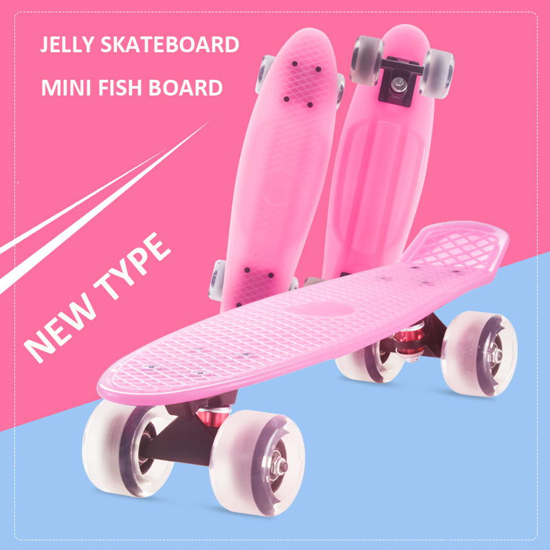 Jelly Pink 57*15cm Non-slip Skateboard Fish Board PVC Wheels PP Deck Mini Cruiser Penny Retro Board Scooter Pastel Longboard Men