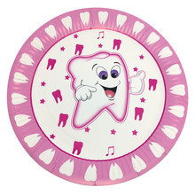 20pcs/lot Pink First Tooth Theme Decorate Baby Shower 9 inches Plates Girls Favors Dishes Happy Birthday Events Party Tableware(China)