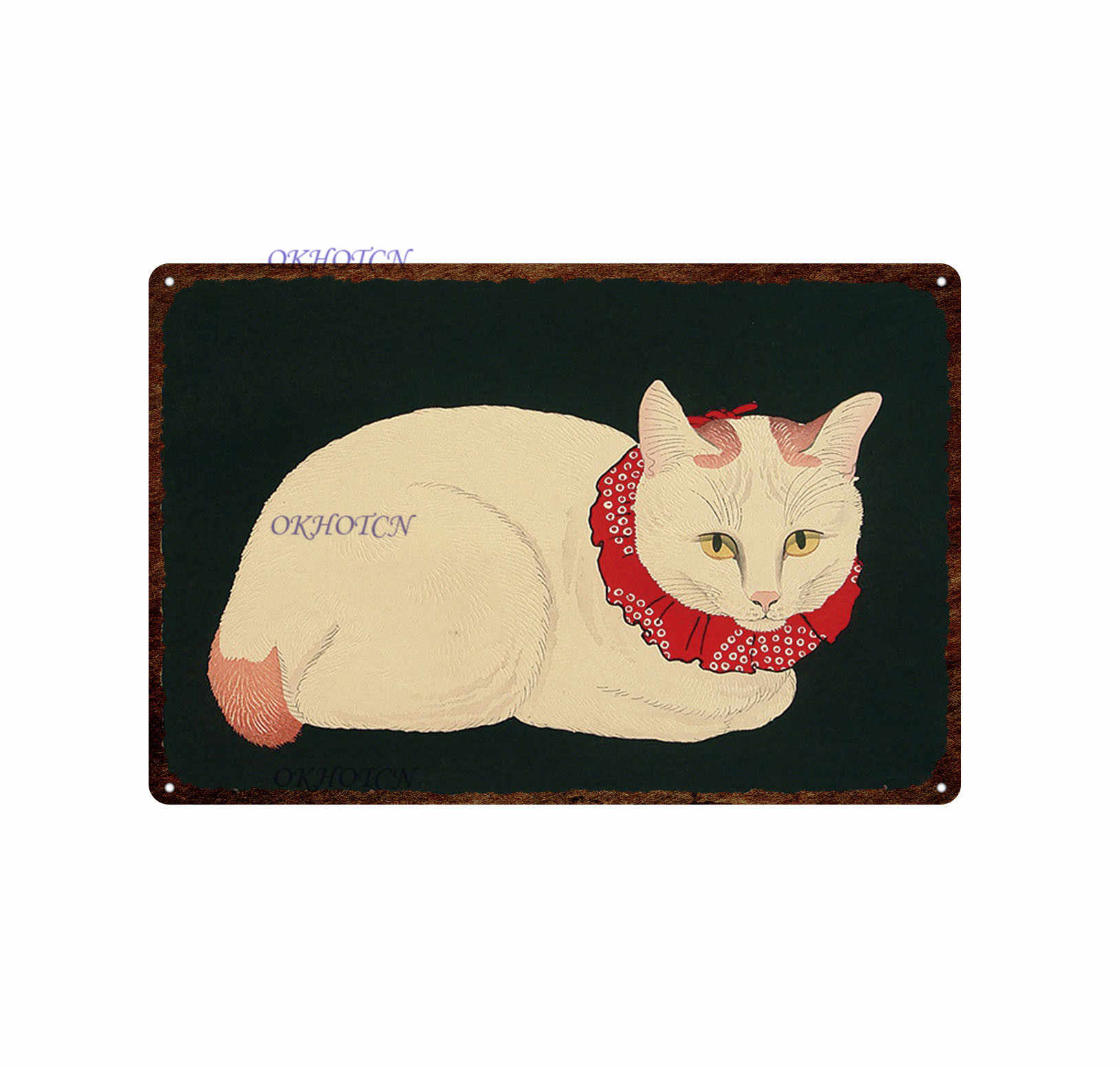 Japon samuray kedi dövme kedi Pet tabela tabela Metal Vintage tabak duvar sanat Retro ev dekor oturma odası için