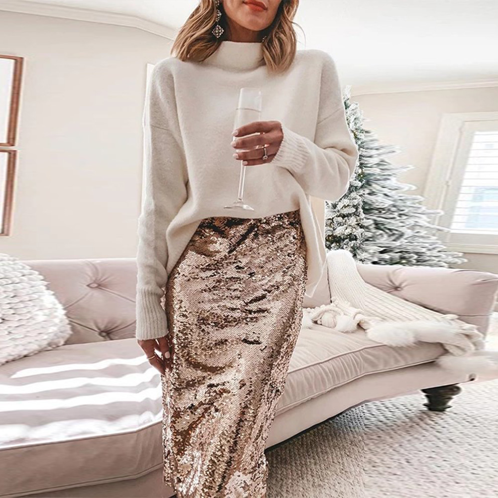 Women Knee-Length Sequined Skirt Fashion Elegant Glitter Pencil  Skirt Ladies Bling Evening Party Skirt Sexy Slim Skirts D30