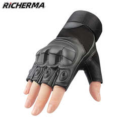 Hard Knuckles Motorcycle Fingerless Gloves Leather Protective Gear Motocross Motorbike Scooter Moto Cycling Biker Racing Riding
