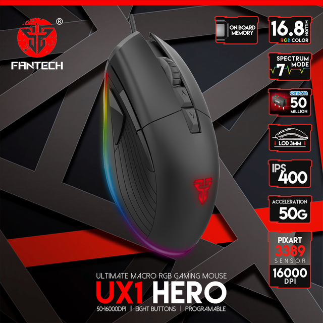 FANTECH UX1 Profession Gaming Mouse 16000 DPI Adjustable 8 Button Macro RGB Wired Mouse USB For LOL CS PUBG Mouse Gamer 1