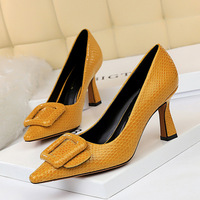 European And American Sexy Career Ol Serpentine High Heels Shallow Mouth Pointed Belt Buckle Shoes Women's Shoes High Heels