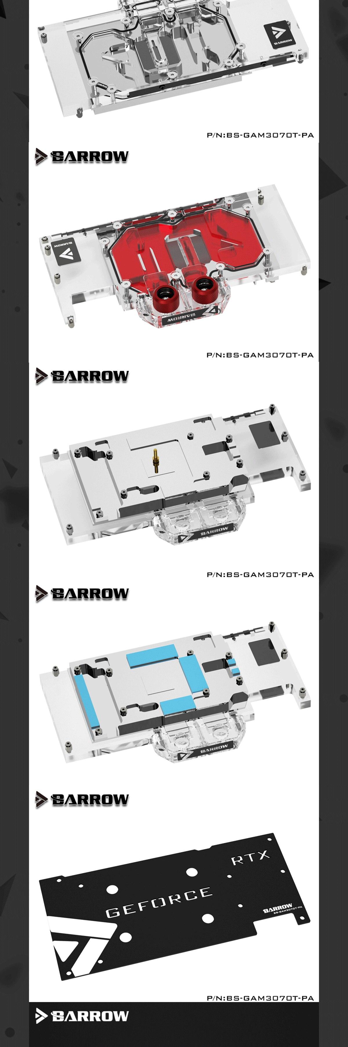 Barrow GPU Water Block for Galax / Gainward RTX 3070TI OC GPU Card Full Cover Water Cooler , With Backplane BS-GAM3070T-PA