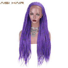 AISI HAIR Purple Synthetic Braided Lace Front Wigs for Black Women Heat Resistant Fiber Hair Wigs Brown Premium Box Braid Wig(China)