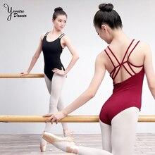 High Quality Brand Professional Ballet Practice Bodysuit Adult Double Sling Ballet Dance Leotard Female Ballerina Costume Black