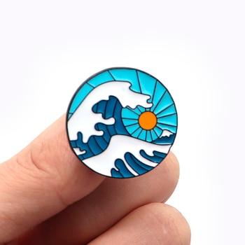 30pcs/lot Japanese Style Wave Brooch Sunrise Enamel Pin for Kids Men Badge Lapel Pin Backpack Decoration Cartoon Hat Pins A119