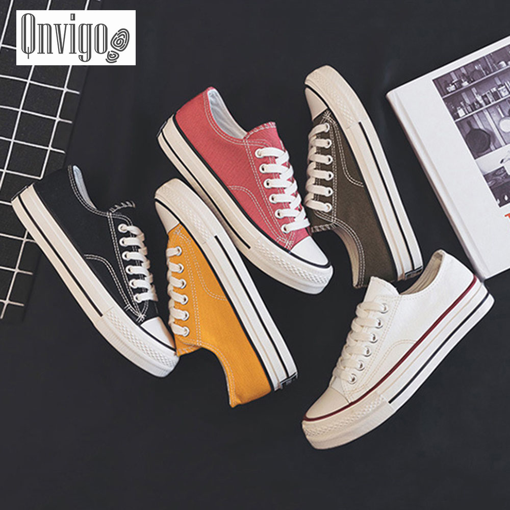 Qnvigo Vulcanized Shoes Canvas Sewing Lace-up Adult Breathable Women Sneakers Solid Black Yellow Green White Red Sneakers 2020