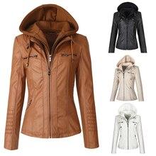 Faux Leather Jacket Women Hoodies Gothic Motorbike Basic PU Jacket