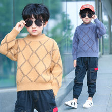 Kids Rhombus Sweater For Boy Boys Knitted Autumn Long Sleeve Pullover Casual Cotton Knitwear Children Warm