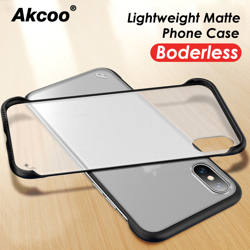 Akcoo Ultra-thin Borderless Phone Case For iPhone  XS Max 7 8 Plus Clear Matte Cover XR 6 6S