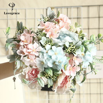 Lovegrace Camellia Bouquet Fake Peony Flower Artificial Silk Begonia Blue Rose Bridesmaid Bouquet Flower Home Wedding Flowers