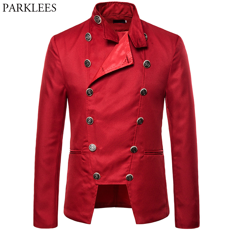 British Style Men Palace Suit Jacket Mens Double-breasted Blazer Men Party Stage Singer Performance Prom Dress Jacket Men Blazer