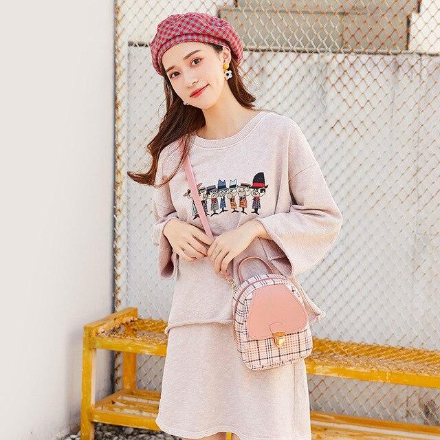 Mini Backpack Crossbody Bag For Teenage Girl Plaid Women Shoulder Phone Purse Korean Style New Trendy Female 2021 4
