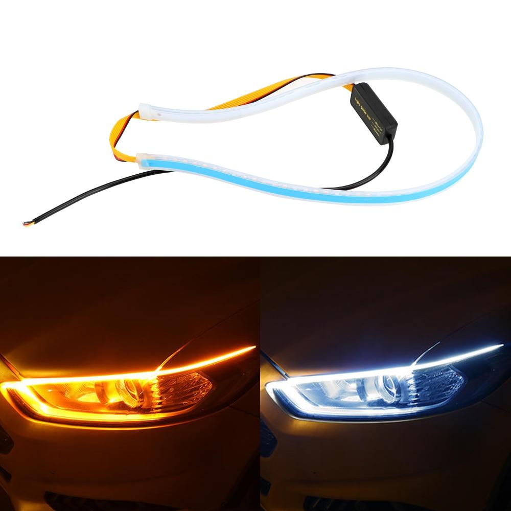 Waterproof 30 45 60cm Daytime Running Light Turn Signal Lamps Flexible Soft Tube Guide Ultrafine DRL White Yellow Car LED Strip