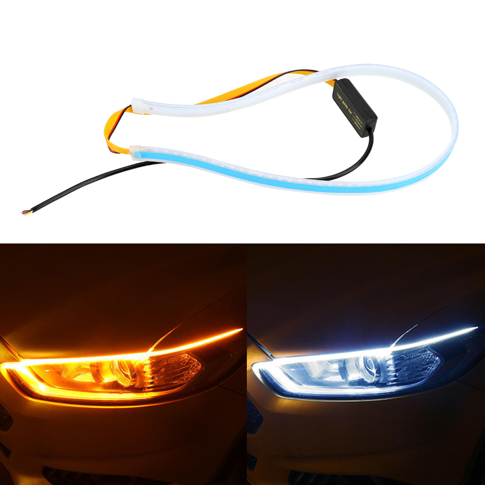 Waterproof 45 60cm Daytime Running Light Turn Signal Lamps Flexible Soft Tube Guide Ultrafine DRL White Yellow Car LED Strip image