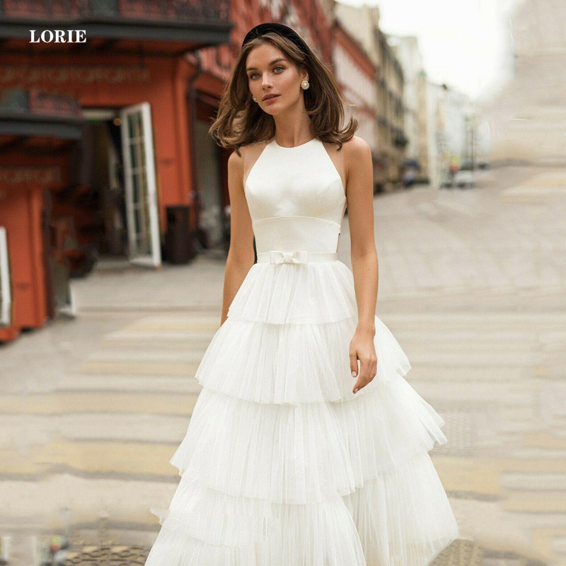 LORIE Beach Wedding Dresses A Line Ankle Length Tiered Bridal Gowns Dubai  Vestidos De Novia Wedding Gowns