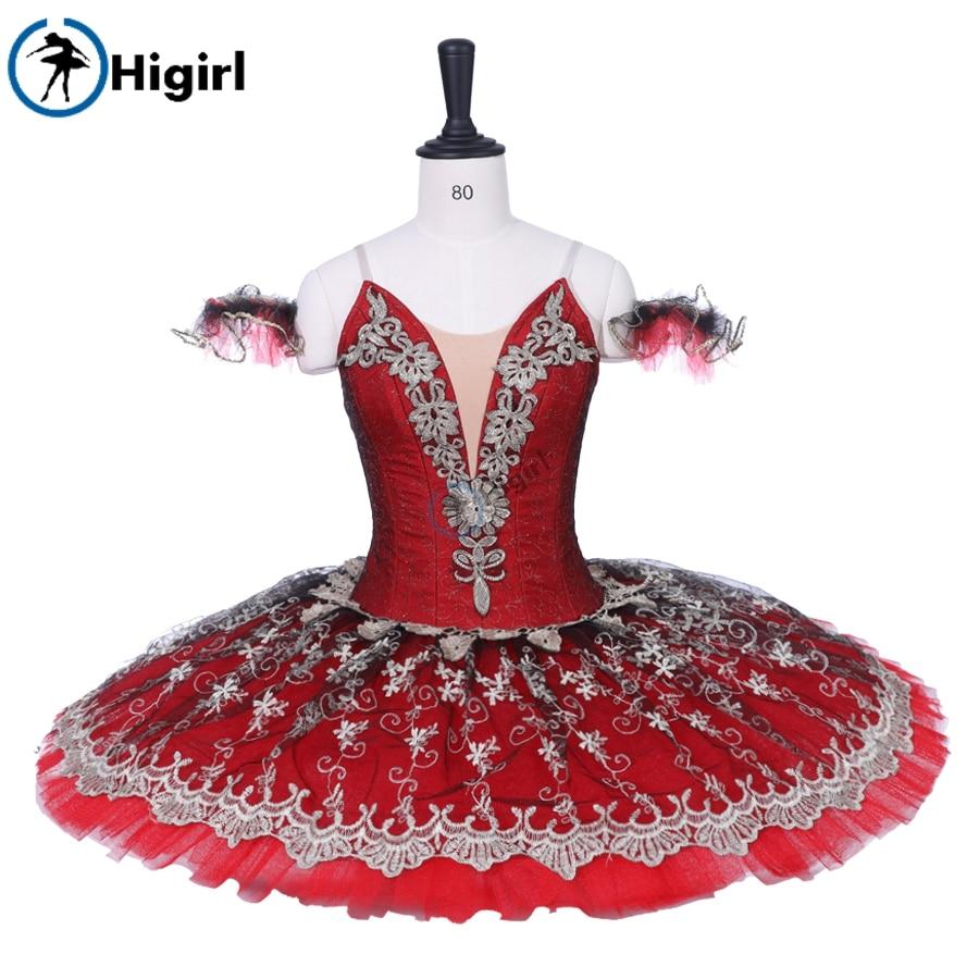 Women Red Black Classical Pancake Tutu Ballerina Costumes Girls Don Quijote Comeptition Professional Tutu Adult BT9203