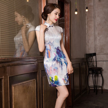 Vestido De Debutante Chinese Landscape Painting Printed Silk Cheongsam Skirt To Show Thin Dress Cultivate Morality Wholesale