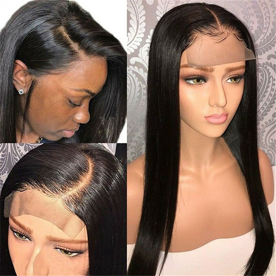 BY 4x4 Closure Wig 150% Density Human Hair Wigs Pre Plucked With Baby Hair Natural Color Straight Lace Wig For Black Women Remy