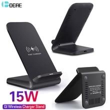 DCAE 15W Qi hızlı şarj kablosuz hızlı şarj standı Usb tip C QC 3.0 iPhone için Dock istasyonu 11 pro XS R X 8 Samsung S20 S10