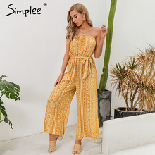 Simplee Strapless women print jumpsuit romper Sashes lace up