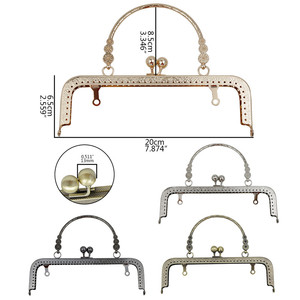 Image 2 - HAOFA 4pcs 20cm Small Flower Handle Sewing Purse Metal Frames Antique Accessories For Bag kiss clasp bag frame