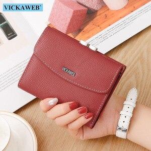 Image 1 - VICKAWEB cartera pequeña de piel auténtica para mujer, monedero colorido, monedero con cierre