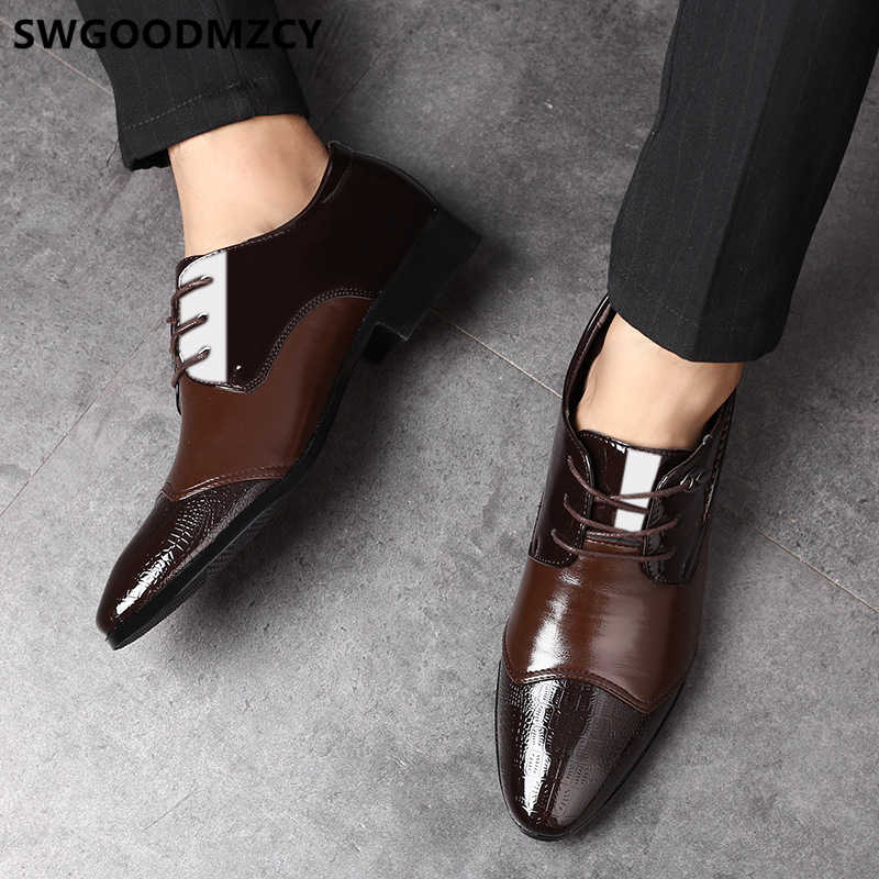 Giày công sở nam chính thức thương hiệu Ý thanh lịch giày cho nam Nâu Vân Cá Sấu Đầm Coiffeur sang trọng thiết kế đảng giày cho nam áo CướI 2019 Size Lớn 48 zapatos Oxford Hombre zapatos de Hombre de vestir chính thức