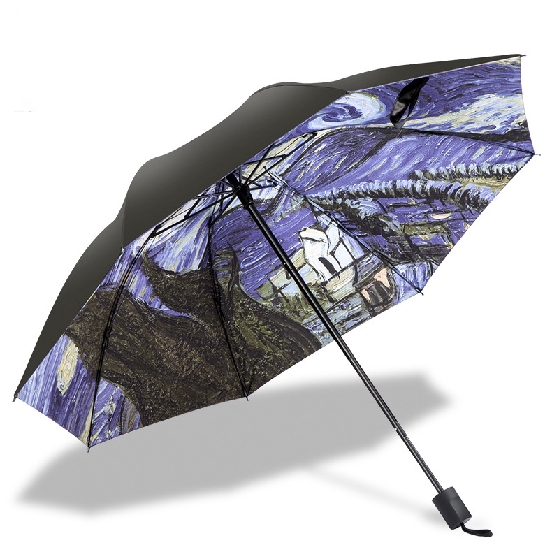 Van Gogh Starry Sky Umbrella Parasol Sun Blocking Vinyl Dual Purpose Folding Tri-fold Umbrella Customizable Yi So Hot U San