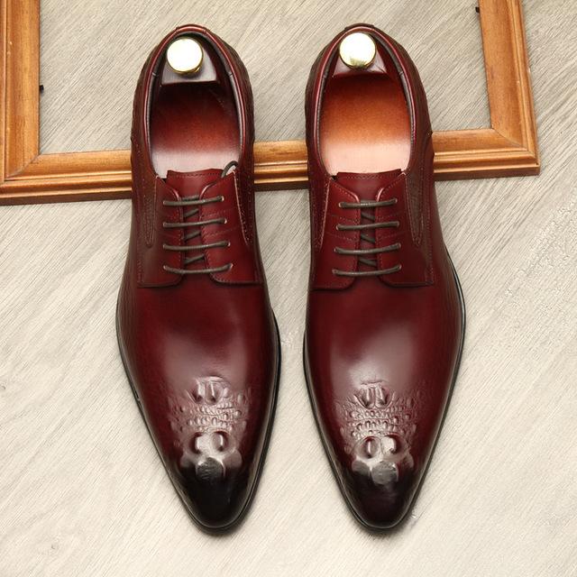 QYFCIOUFU Autumn Lace-Up Men Leather Shoes Italian Vintage Formal Dress Shoes Business Office Genuine Leather Wedding Oxfords