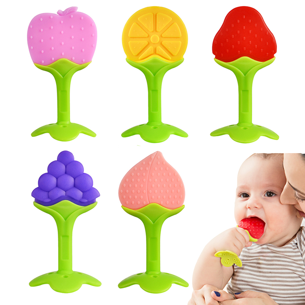 Baby Teether Safety Silicone Fruit Teethers For Baby Infant Kids Chew Tooth Toys Baby Dental Care Strengthening Tooth Training