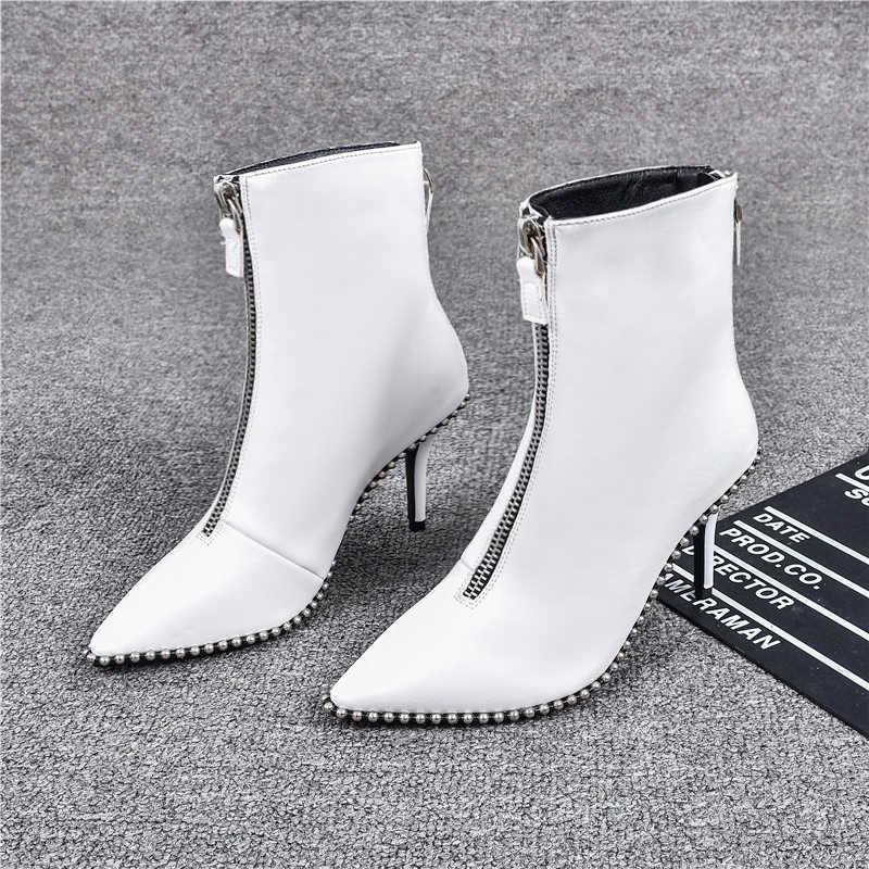 2019 ตกแต่ง Rivet รองเท้าผู้หญิงแฟชั่นชี้ Toe รองเท้าส้นสูงด้านหน้ากลับซิปรองเท้าผู้หญิงใหม่บางส้นรองเท้าข้อเท้าสำหรับสตรี